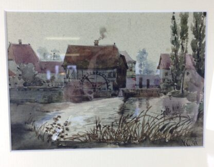 French watercolour - Mill & stream, 1891 -6840