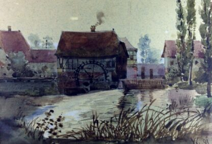 French watercolour - Mill & stream, 1891 -0