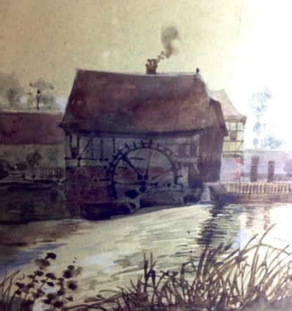 French watercolour - Mill & stream, 1891 -6842