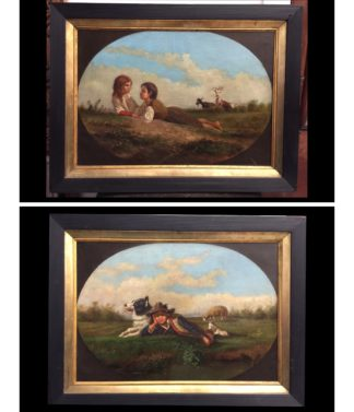 Pair of Italian oils with children & animals, early 19th century-0