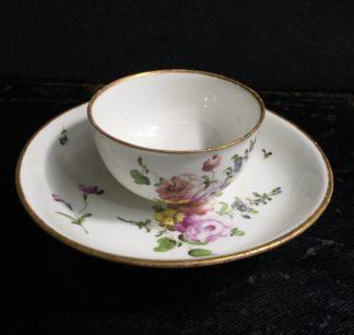 Vienna teabowl & saucer, flower dec, c. 1760 -0