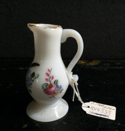 French milk glass miniature jug, flower painting, circa 1770 -0