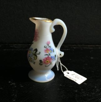 French milk glass miniature jug, flower painting, c.1770 -0