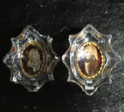 Pair of German portrait salts, lady & gent, c. 1790 -10128