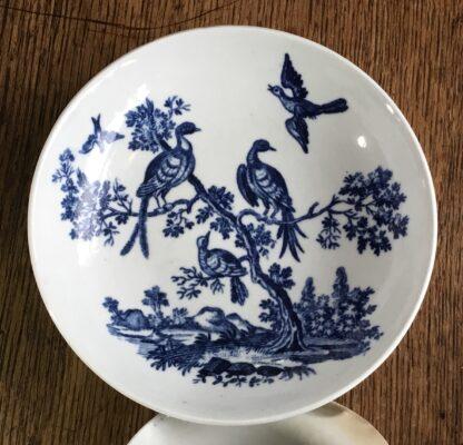 Worcester tea bowl & saucer, 'birds in branches' C. 1780 -16715