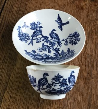 Worcester tea bowl & saucer, 'birds in branches' C. 1780 -0