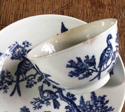 Worcester tea bowl & saucer, 'birds in branches' C. 1780 -16717