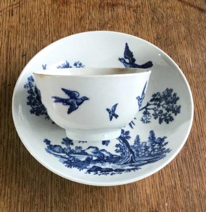 Worcester tea bowl & saucer, 'birds in branches' C. 1780 -16718