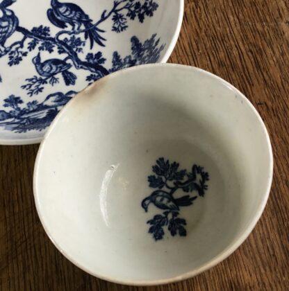Worcester tea bowl & saucer, 'birds in branches' C. 1780 -16719