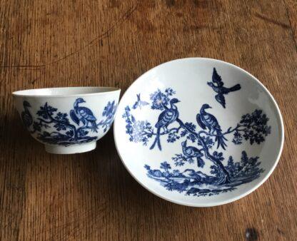 Worcester tea bowl & saucer, 'birds in branches' C. 1780 -16720