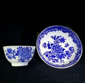 Liverpool teabowl & saucer, Three Stamens pattern, Seth Pennington, C. 1790 -0