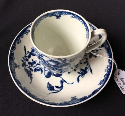 Worcester Mansfield pattern coffee cup & saucer, C. 1770 -19885
