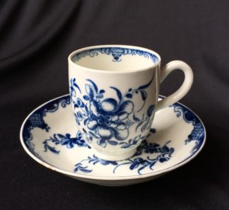 Worcester Mansfield pattern coffee cup & saucer, circa 1770 -0