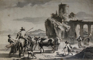 Dutch pen & wash, cattle herders by a castle, early 18th century -0