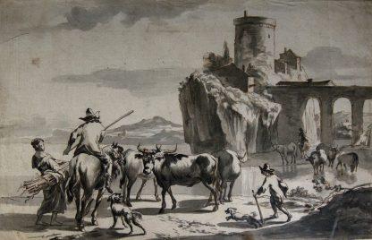 Dutch pen & wash, cattle herders by a castle, early 18th century -0