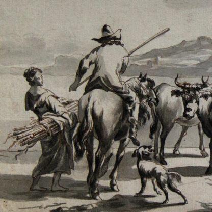 Dutch pen & wash, cattle herders by a castle, early 18th century -6906