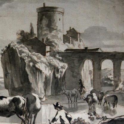 Dutch pen & wash, cattle herders by a castle, early 18th century -6907