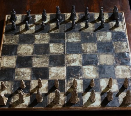 The Boyd Chess set, 1960's Australian Pottery rarity at Moorabool Antiques at Geelong