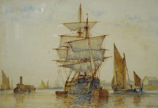 Aldridge Watercolour - Ships on the Thames