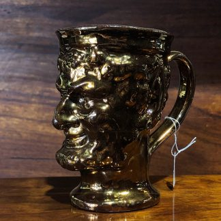 English lustre Bacchus mug, marbled interior, c.1825. -0