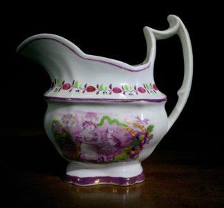 English porcelain milk jug, THE PLAY FELLOW print of cat, c. 1820-0