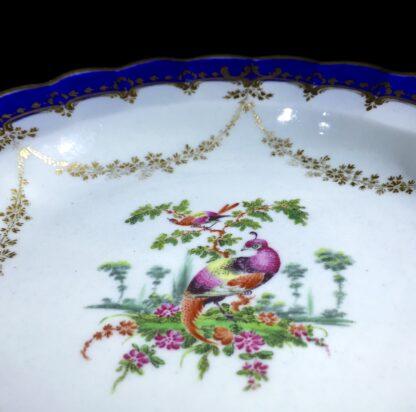 Worcester 'fancy birds' plate, gilt garlands, c. 1770-8640