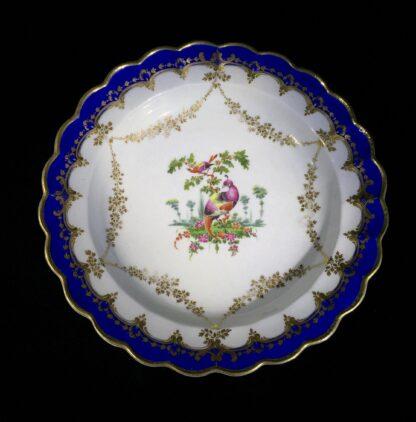 Worcester 'fancy birds' plate, gilt garlands, c. 1770-0