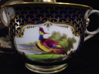 Worcester Flight Barr & Barr Cup & Saucer, fancy birds & gilt scale, c. 1820 -8752