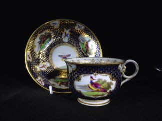 Worcester Flight Barr & Barr Cup & Saucer, fancy birds & gilt scale, c. 1820 -0