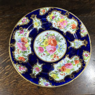 Coalport blue ground plate, superb flower panels, c. 1815 -0