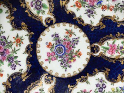 Coalport blue ground plate, superb flower panels, c. 1815 -13132