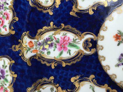 Coalport blue ground plate, superb flower panels, c. 1815 -13133