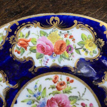 Coalport blue ground plate, superb flower panels, c. 1815 -13135