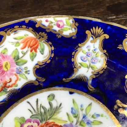 Coalport blue ground plate, superb flower panels, c. 1815 -13136