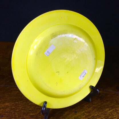 Creil plate, canary yellow with black scenes, c.1830 .-14038