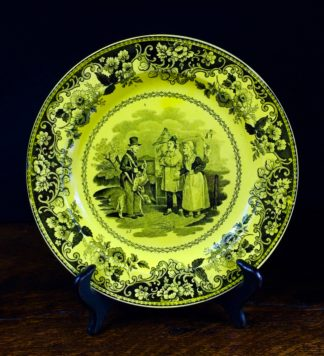 Creil plate, canary yellow with black scenes, c.1830 .-0