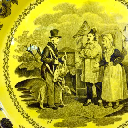 Creil plate, canary yellow with black scenes, c.1830 .-14041