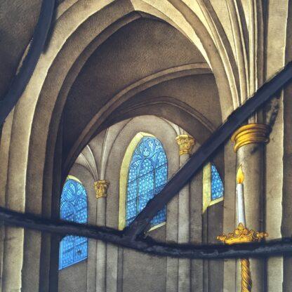 Important leadlight by Stephan Kellner, interior scene with Brit Milah, 1853-9168