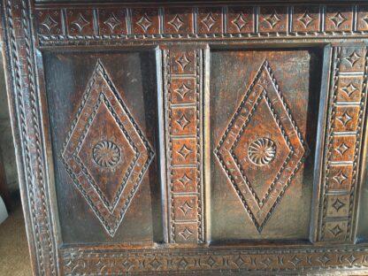 English oak coffer, diamond panels, C. 1670-9182