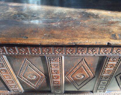English oak coffer, diamond panels, C. 1670-9184