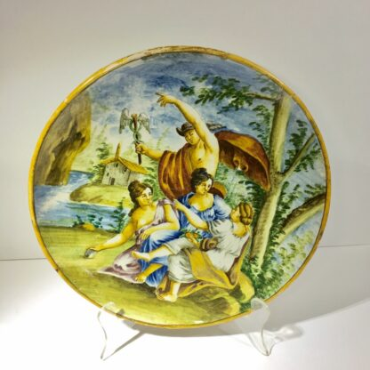 Maiolica charger with Hermes and the Three Graces, 19th Century -0