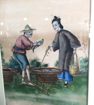 Chinese rice paper painting, Fish seller, earlier 19th century-0