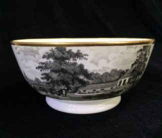 Newhall type bowl with large bat print, c.1810-0
