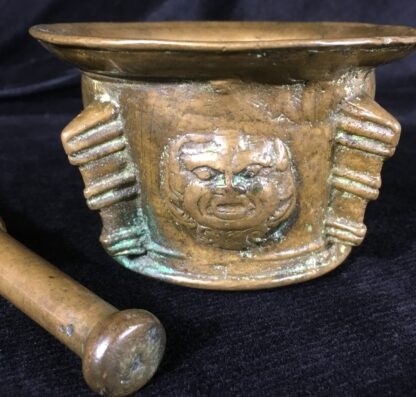 Bronze mortar with grotesque face, 16th century North Italian -19539
