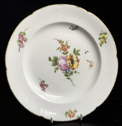 Les Boisettes plate with scatteref flowers, C. 1780 -0