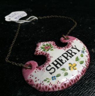 Enamel `Sherry` decanter label, 19th century -0