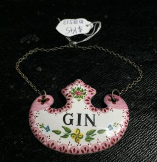 Enamel `Gin` decanter label, 19th century -0