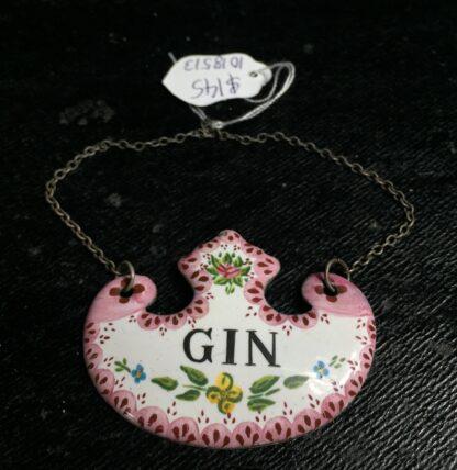 Enamel `Gin` decanter label, 19th century -0