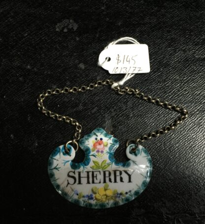 Enamel `Sherry` decanter label, 19th century -10736