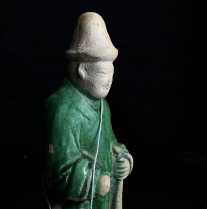Ming glazed pottery man, musician, 16th-17th century-9822